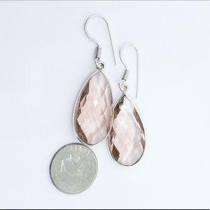 Rose Quartz Faceted Sterling Silver Earrings